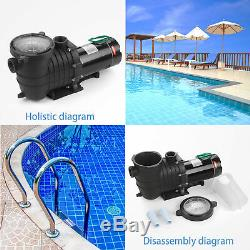 110-240V InGround Swimming Pool 2.0HP Portable Pump Motor With Filter Above Ground