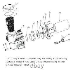 115-230v 1.5/2HP Inground Swimming Pool pump motor Strainer Hayward Replacement