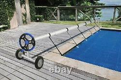 18' FT Swimming Pool Cover Reel Stainless Steel Inground Solar Cover Blue