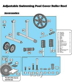 21' FT Swimming Pool Cover Reel Set Aluminum Inground Solar Cover withThermometer