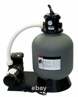 24 In-Ground Swimming Pool Sand Filter System With 1 HP Pump 300 LBS Capacity