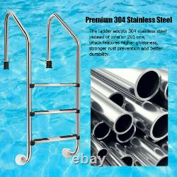 3 Step Swimming Pool Ladder Stainless Steel In-Ground Anti-Slip Bend Home Safety