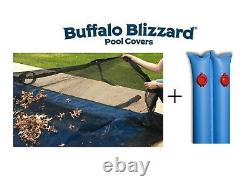 Buffalo Blizzard Rectangle In-Ground Swimming Pool Leaf Net Cover with Water Tubes