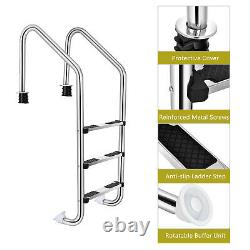 Costway Swimming Pool Ladder In-Ground Stainless Steel 3-Step with Anti-Slip Step