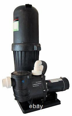 Deluxe In-Ground Swimming Pool 200SF Cartridge Filter System 2 Speed Pump 1.5HP