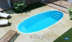 Fiberglass Inground pool shell New Italy 5 Plus (7.4 x 16.4 x 4.6 deep)