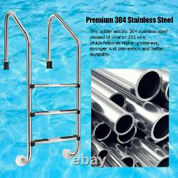 Goplus 3 Step Stainless Steel In-Ground Swimming Pool Ladder With Easy Mount Legs