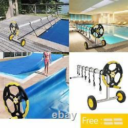 Inground Swimming Pool Solar Cover Reel Spinning 18 Foot Round Pool Cover Winter