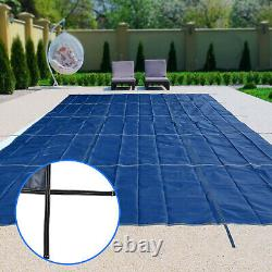 Pool Safety Cover Rectangle Inground for Winter Swimming Pool Mesh Solid Blue