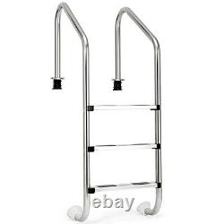 Topbuy 3 Step Swimming Pool Ladder In Ground Stainless Steel Non-slip Step